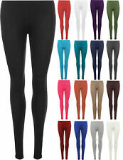 New Womens Plain Stretch Ladies Full Length Long Leggings Pants Plus Size 8-26
