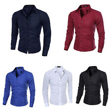 Men Fashion Striped Business Slim Fit Long Sleeve Casual Dress Shirt Ardent