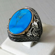 Handmade 925 Sterling Silver Natural TURQUOISE Men's RING #C177