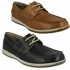 FALLSTON STYLE  MENS CLARKS LACE UP LEATHER MOCCASIN FLAT CASUAL COMFY SHOES