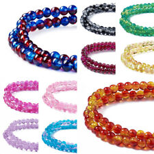 "1Strand 31.4"" Crackle Round Glass Beads Strands 4/6/8/10mm Jewelry Craft Making"