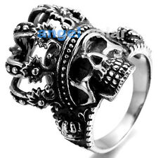 Mens jewelry Stainless Steel Skull Crown Ring Biker Gothic Death Head Silver BLK