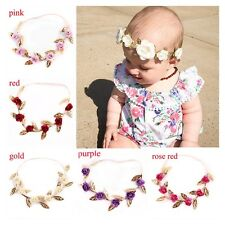 Girl Headband Floral Gold Leaves Hair Band Rose Flower Wreath Baby Garland