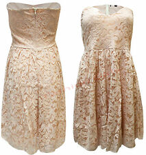 Womens Ladies Celebs Floral lace Boob Tube Short Mini Flared Skater Party Dress