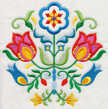 "SWEDISH FOLK ART FLOWERS FLORAL 8"" MACHINE EMBROIDERED QUILT BLOCK (HP)"
