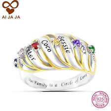 Personalized Sterling Silver Family Name Engraved & Birthstones Rings 1- 6 names