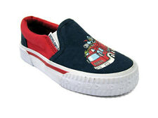 *NEW* Boys Firetruck Infant DUNLOP VOLLEY Navy canvas Slip On Shoes SIZE 6