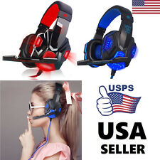 USB 3.5mm Surround Stereo Gaming Headset Headband Headphone with Mic For PC NEW