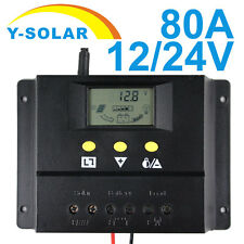 60A 80A Solar Charge Controller  12V 24V LCD USB Battery Safe Regulator