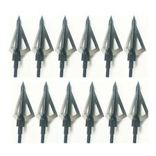 Lot 1.2'' Cut 125 Grain 3 Blade Sharp Field Arrow Tips Points Broadheads Black
