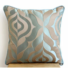 Vintage Damask Blue Jacquard Weave 18x18 Decorative Pillow Covers - Teal Luxury