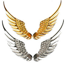 1 Pair 3D Chrome Metal Angel Wing Car Decoration Emblem Badge Decal Logo Sticker