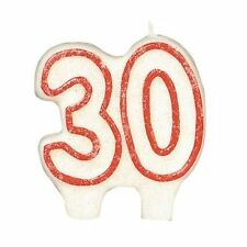 Cake candle red & white 30th 40th 50th 60th birthday age number party decoration