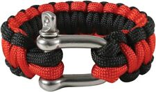 Thin Red Line Support The Firemen Survival Paracord Cobra Bracelet w/ D-Shackle