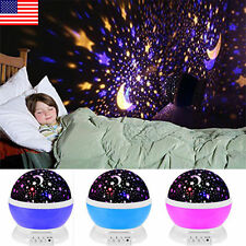 Romantic LED Rotation Starry Night Sky Projector Lamp Star light Cosmos Fairy US