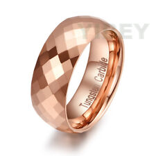 Rose Gold Tungsten Polished Rhomb Shiny Ring Wedding Band Mens Jewelry Size 7-13