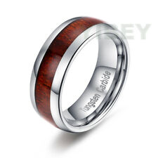 8MM Mens jewelry Tungsten Carbide Ring Koa Wood Inlay Dome Wedding Band All Size