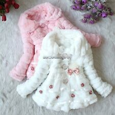 Winter Baby Girls Princess Warm Jacket Faux Fur Fleece Coat Tops  Party Clothing