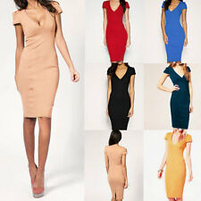Womens Sexy V Neck Bodycon Business Office OL Slim Party Cocktail Pencil Dress