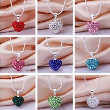 Rhinestone Chain Crystal Silver Plated Pendant Necklace Heart