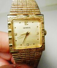 AGE MEN'S GENEVA LUXURY WIND UP GOLD ELECTROPLATED DIAMOND MARKERS WATCH-WORKS