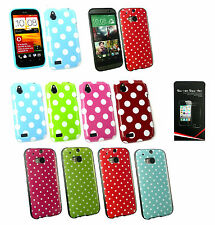Polka Dots Silicone Gel Case Cover for HTC Models + Screen Protector
