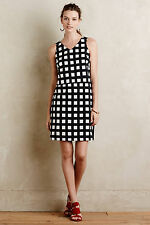Anthropologie Gridway Shift Size 8, B&W Checked Structured Dress By Tabitha