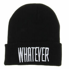 Unisex Women Men Winter Cuffed Bboy Beanie Hats WHATEVER Hip Hop Knit Skull Caps