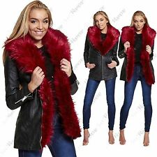 New Womens Red Faux Fur Collar PU PVC Leather Look Zip Up Long Biker Jacket Coat