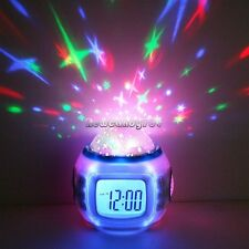 NC89  Music Starry Star Sky Projection Alarm Clock Calendar Thermometer Colorful