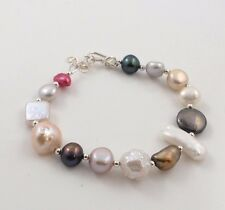 New Mixed Style Freshwater Pearl & Sterling Silver Clasp & Charms Bracelet