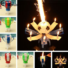Cake Topper Birthday Candle Blossom Lotus Flower Decoration Musical Rotating