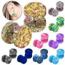 Steel 12mm Marbled Dotted Neon Airbrush Spray Earstuds Fake-Plugs Tunnel Studs