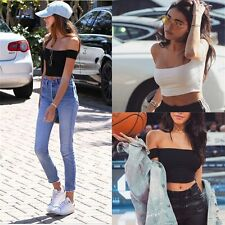 Sexy Women Boat Neck Slim Top Tank T-shirt Lady Casual Blouse Ribbed Crop Tops