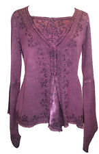 01 B Agan Traders Renainnace Vintage Gypsy Gothic Embroidered Blouse Top