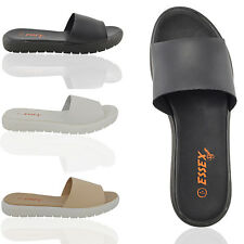 NEW LADIES SLIP ON SANDALS WOMENS SYNTHETIC LEATHER CASUAL PLATFORM SHOES SIZE