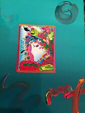 """Peter Max, """"BLUSHING BEAUTY"""" Mixed Media, Signed, Overpaint, Painting"""