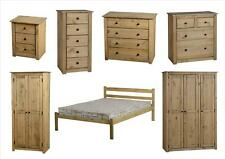 Natural Wax Pine Panama Bedroom Furniture - Wardrobes, Drawers, Bedside, Beds