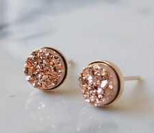 Rose Gold Color Titanium Druzy Druzy Gold and Silver Round Stud Earrings