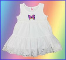 Ex Next Girls White Butterfly Dress 1 , 2 , 3 ,4 , 5, 6 ,7 Years NEW
