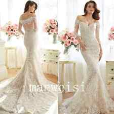 Strapless White/Ivory Mermaid Lace Wedding Dresses Long-Sleeve Custom Appliques