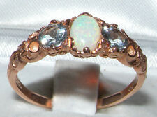 Womens Solid 14K Rose Gold Natural Opal & Aquamarine Victorian Style Ring