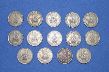 Job lot of 14 Old British One Shilling Coins; George VI