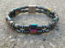 Men's Women's Magnetic BLACK & RAINBOW Hematite Bracelet Anklet 2 row Strong