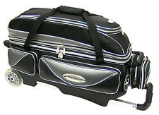 Elite Platinum Deluxe Triple Roller Bowling Bag - with Wheel Color Options