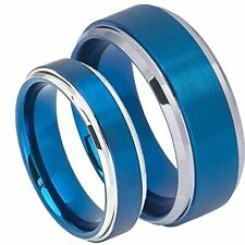 His & Her's 8MM/6MM Blue Tungsten Carbide Brushed Center Wedding Band Ring set