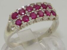 Solid English 925 Sterling Silver Natural Ruby Victorian Des Eternity Band Ring