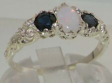 Solid Sterling 925 Silver Natural Opal & Sapphire English Victorian Trilogy Ring