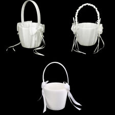 Fashion Satin Faux Pearl Bow Flower Girl Basket Wedding Party Supplier- Ivory