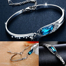 New Women's Cuff Bangle Silver Plated Crystal Chain Charm Bracelet Girls Jewelry